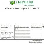 Выписка по счету из Сбербанка